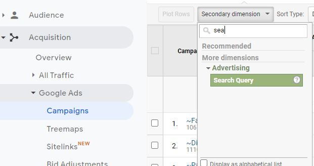 Search Query Secondary Dimension Google Analytics